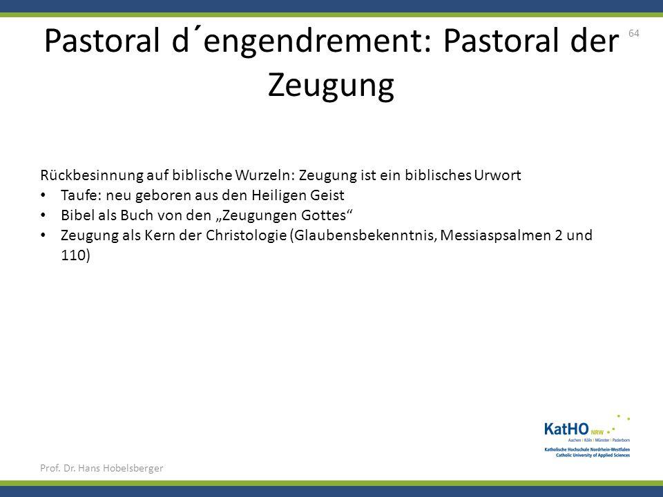 Pastoral d´engendrement: Pastoral der Zeugung Prof. Dr. Hans Hobelsberger 64 Rückbesinnung auf biblische Wurzeln: Zeugung ist ein biblisches Urwort Ta