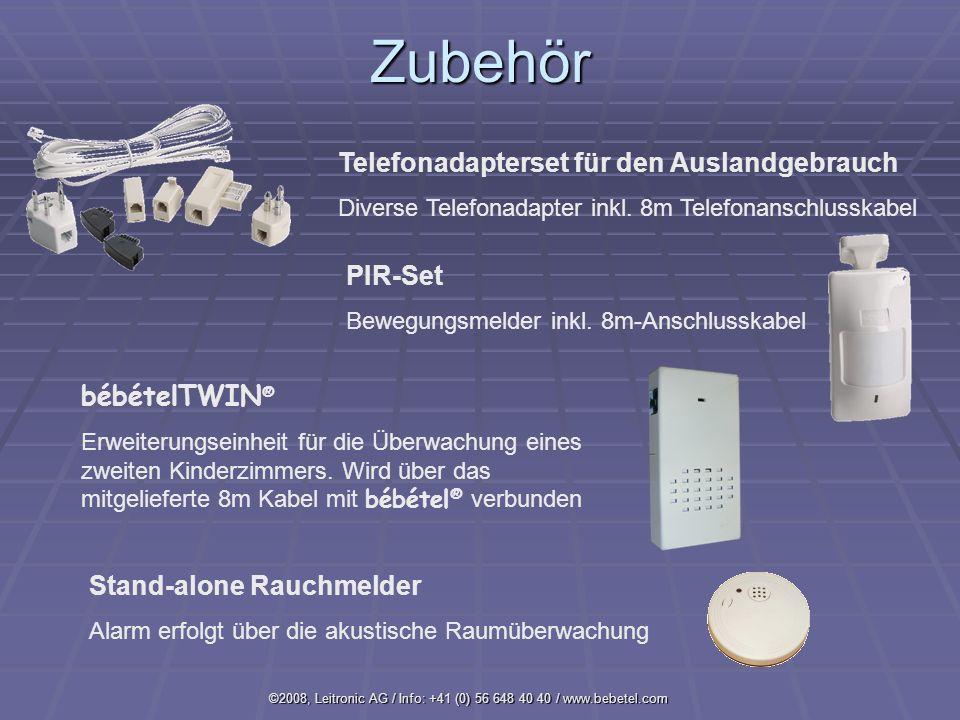 ©2008, Leitronic AG / Info: +41 (0) 56 648 40 40 / www.bebetel.comZubehör Telefonadapterset für den Auslandgebrauch Diverse Telefonadapter inkl.