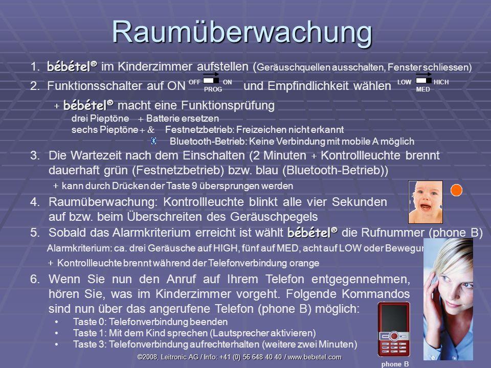 ©2008, Leitronic AG / Info: +41 (0) 56 648 40 40 / www.bebetel.comRaumüberwachung bébétel ® 1.