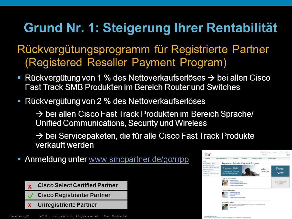 © 2006 Cisco Systems, Inc. All rights reserved.Cisco ConfidentialPresentation_ID 11 Grund Nr. 1: Steigerung Ihrer Rentabilität Cisco Registrierter Par