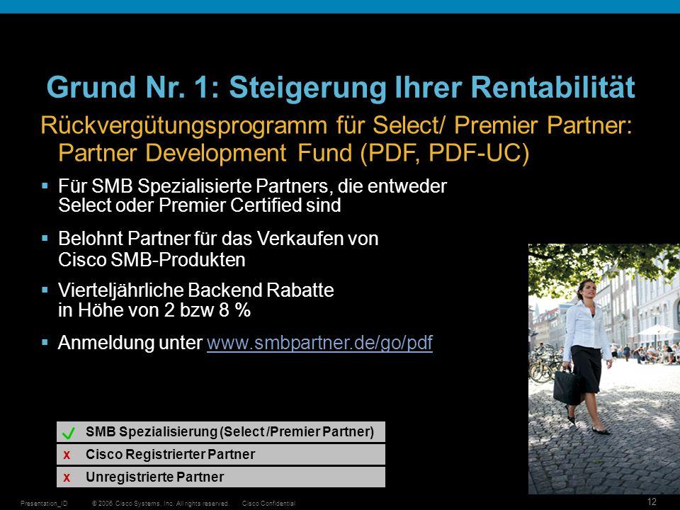 © 2006 Cisco Systems, Inc. All rights reserved.Cisco ConfidentialPresentation_ID 12 Cisco Registrierter Partner Unregistrierte Partner SMB Spezialisie