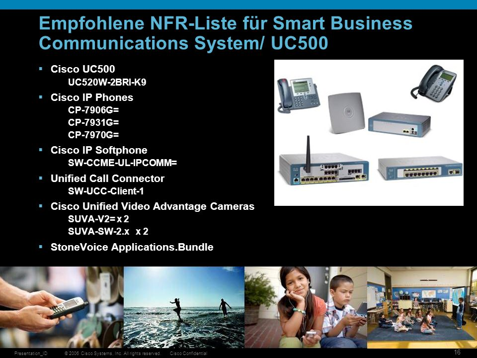 © 2006 Cisco Systems, Inc. All rights reserved.Cisco ConfidentialPresentation_ID 16 Empfohlene NFR-Liste für Smart Business Communications System/ UC5