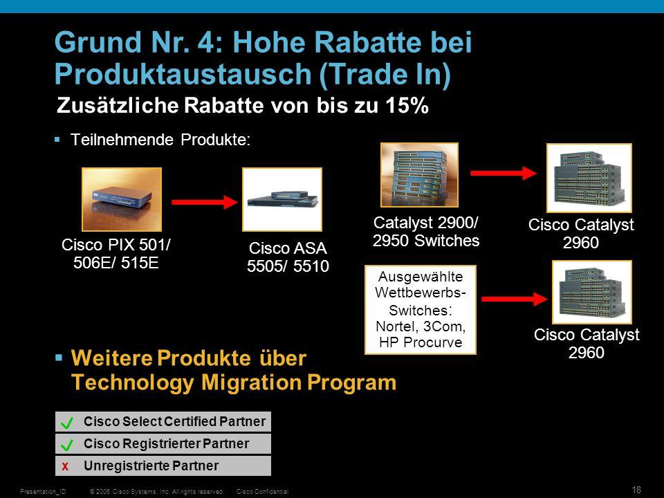© 2006 Cisco Systems, Inc. All rights reserved.Cisco ConfidentialPresentation_ID 18 Zusätzliche Rabatte von bis zu 15% Teilnehmende Produkte: Weitere
