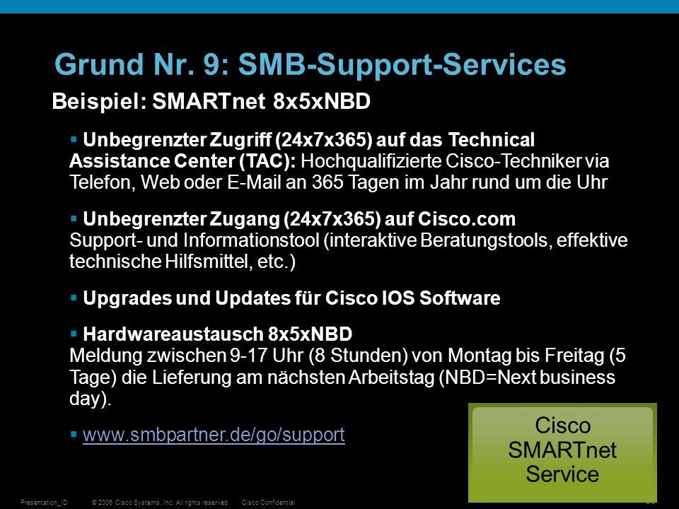 © 2006 Cisco Systems, Inc. All rights reserved.Cisco ConfidentialPresentation_ID 30 Grund Nr. 9: SMB-Support-Services Beispiel: SMARTnet 8x5xNBD Unbeg