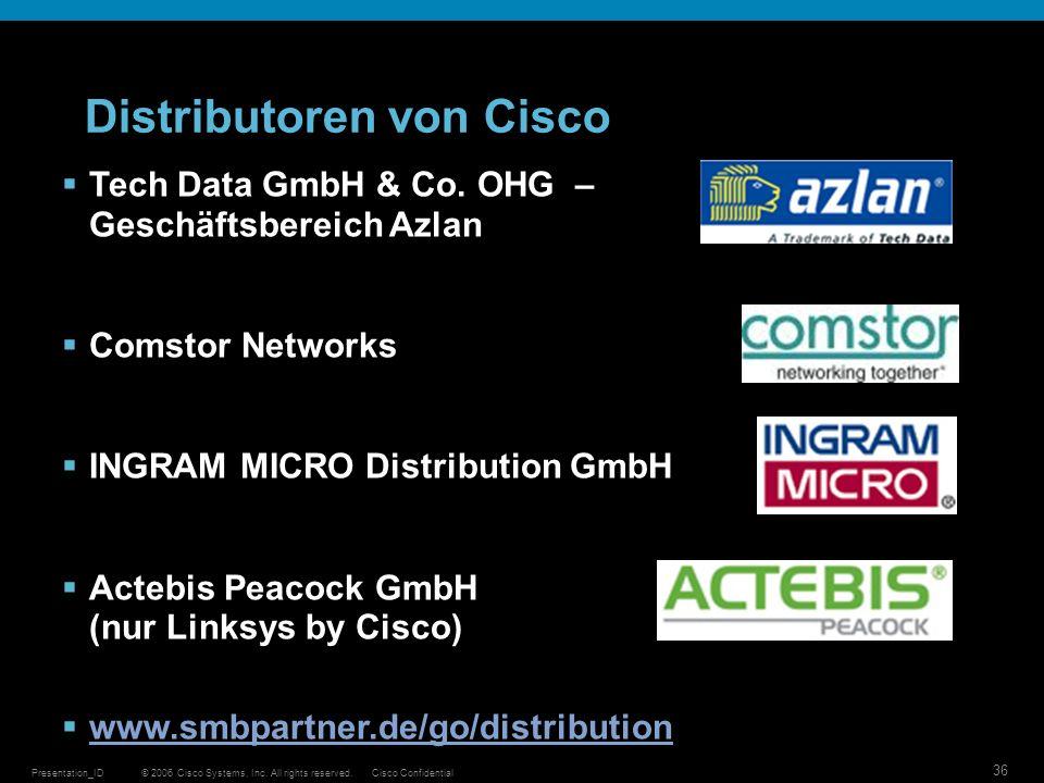 © 2006 Cisco Systems, Inc. All rights reserved.Cisco ConfidentialPresentation_ID 36 Distributoren von Cisco Tech Data GmbH & Co. OHG – Geschäftsbereic