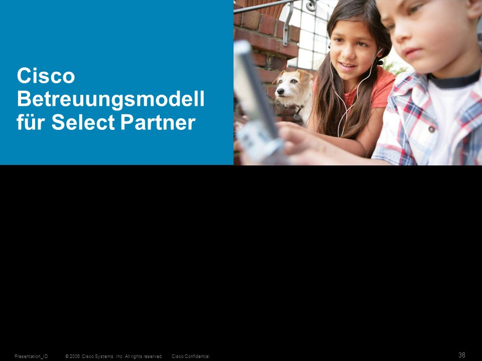 © 2006 Cisco Systems, Inc. All rights reserved.Cisco ConfidentialPresentation_ID 38 Cisco Betreuungsmodell für Select Partner
