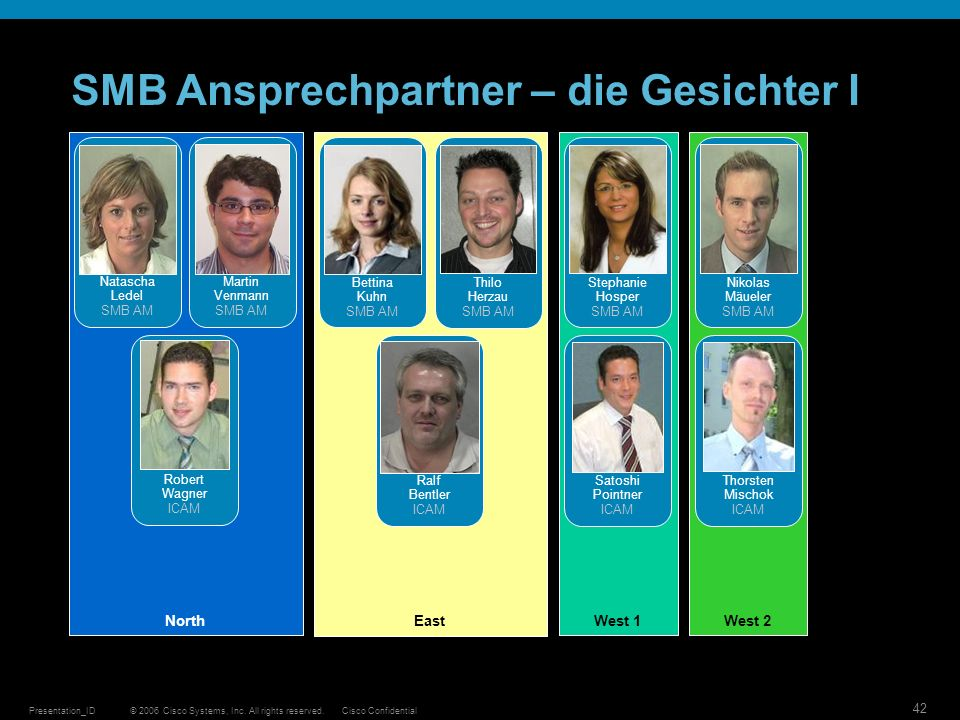 © 2006 Cisco Systems, Inc. All rights reserved.Cisco ConfidentialPresentation_ID 42 SMB Ansprechpartner – die Gesichter I North Natascha Ledel SMB AM
