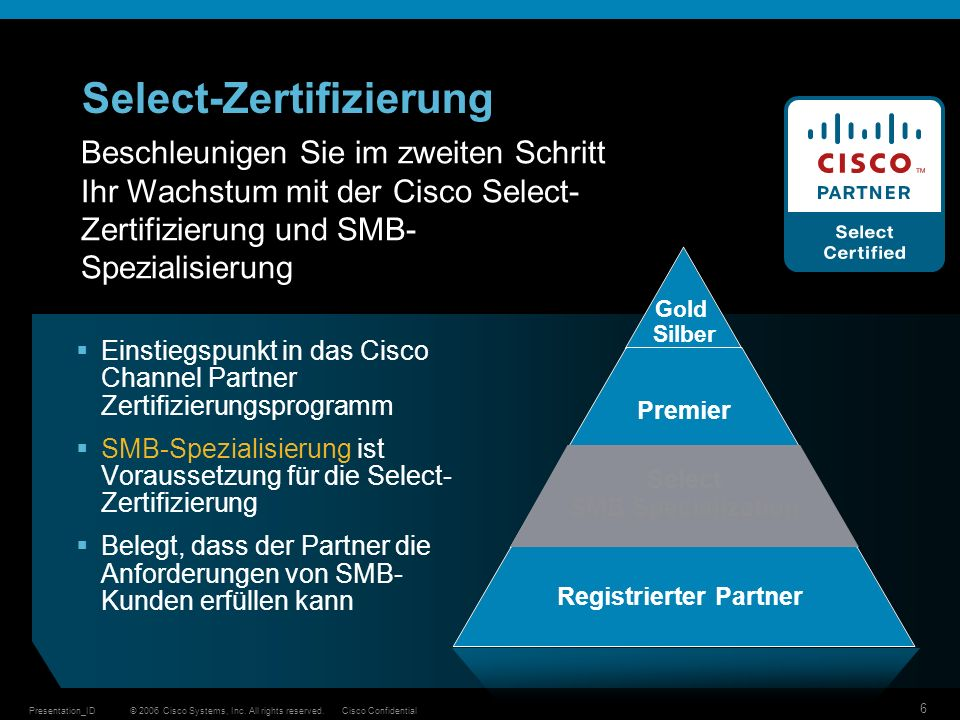 © 2006 Cisco Systems, Inc. All rights reserved.Cisco ConfidentialPresentation_ID 6 Select-Zertifizierung Gold Silber Premier Select SMB Specialization