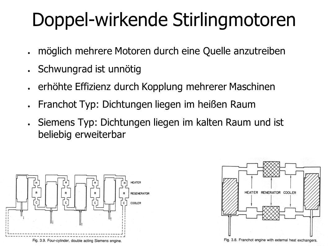 Doppel-wirkende Stirlingmotoren möglich mehrere Motoren durch eine Quelle anzutreiben Schwungrad ist unnötig erhöhte Effizienz durch Kopplung mehrerer Maschinen Franchot Typ: Dichtungen liegen im heißen Raum Siemens Typ: Dichtungen liegen im kalten Raum und ist beliebig erweiterbar