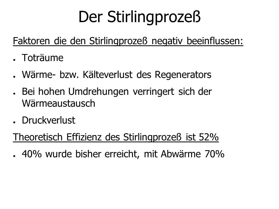 Der Stirlingprozeß Faktoren die den Stirlingprozeß negativ beeinflussen: Toträume Wärme- bzw.