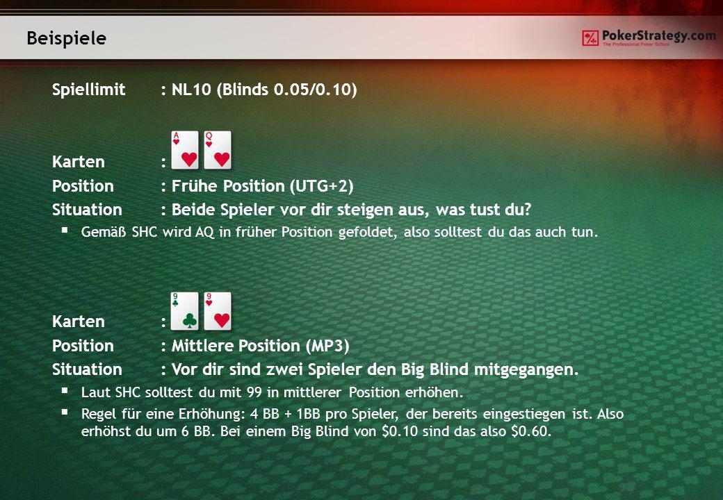 Spiellimit: NL10 (Blinds 0.05/0.10) Karten: Position: Frühe Position (UTG+2) Situation: Beide Spieler vor dir steigen aus, was tust du? Gemäß SHC wird
