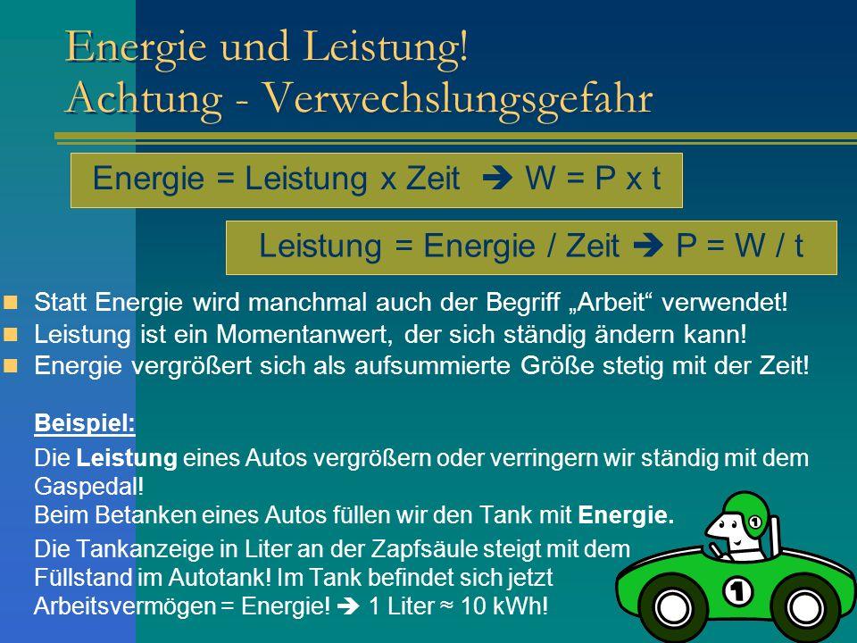 Energie und Leistung! Achtung - Verwechslungsgefahr Statt Energie wird manchmal auch der Begriff Arbeit verwendet! Leistung ist ein Momentanwert, der