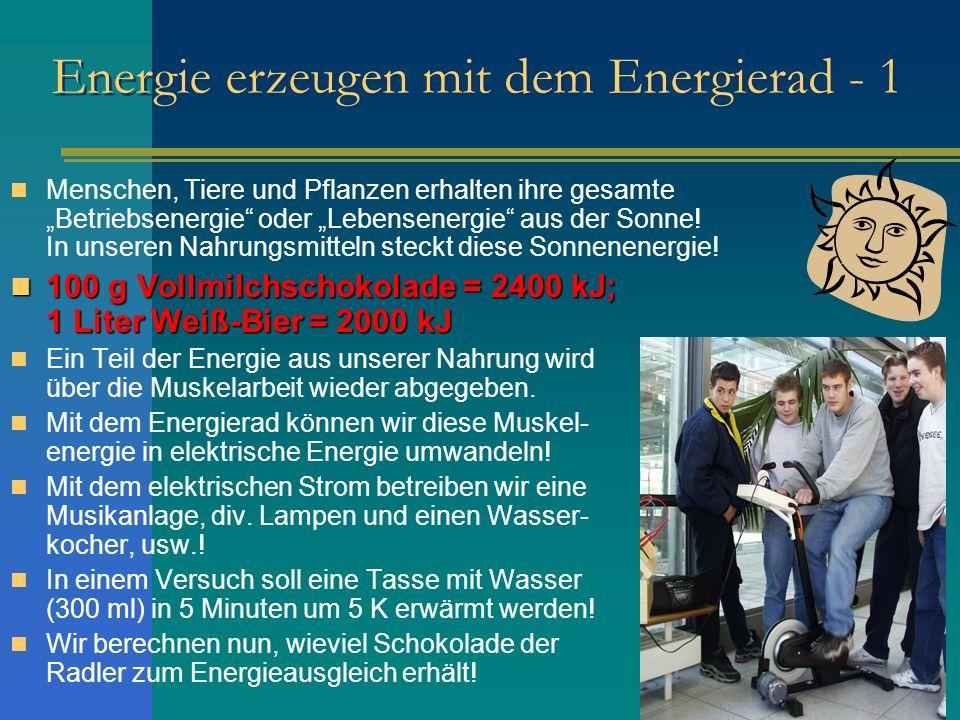 Energie erzeugen mit dem Energierad - 1 Menschen, Tiere und Pflanzen erhalten ihre gesamte Betriebsenergie oder Lebensenergie aus der Sonne! In unsere
