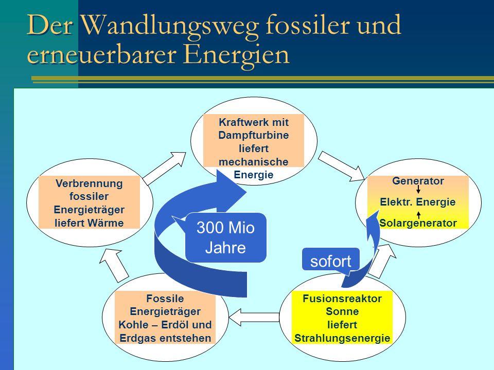 Der Wandlungsweg fossiler und erneuerbarer Energien Fusionsreaktor Sonne liefert Strahlungsenergie Fossile Energieträger Kohle – Erdöl und Erdgas ents