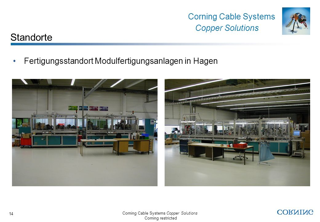 Corning Cable Systems Copper Solutions Corning restricted Corning Cable Systems Copper Solutions 14 Fertigungsstandort Modulfertigungsanlagen in Hagen