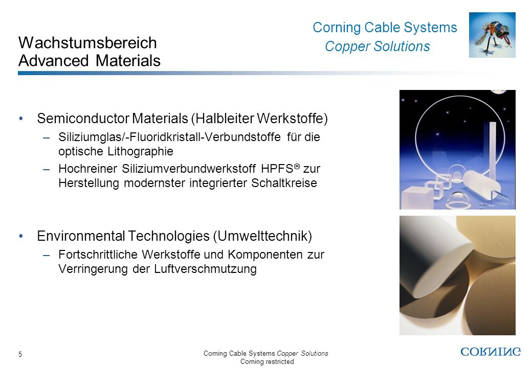 Corning Cable Systems Copper Solutions Corning restricted Corning Cable Systems Copper Solutions 5 Wachstumsbereich Advanced Materials Semiconductor M