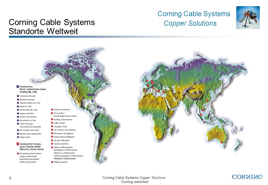 Corning Cable Systems Copper Solutions Corning restricted Corning Cable Systems Copper Solutions 8 Corning Cable Systems Standorte Weltweit
