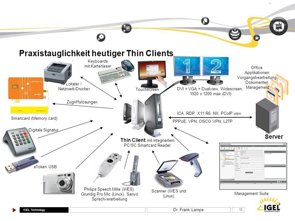IGEL Technology ® Dr. Frank Lampe 13 Praxistauglichkeit heutiger Thin Clients Keyboards mit Kartenleser Thin Client mit integriertem PC/SC Smartcard R