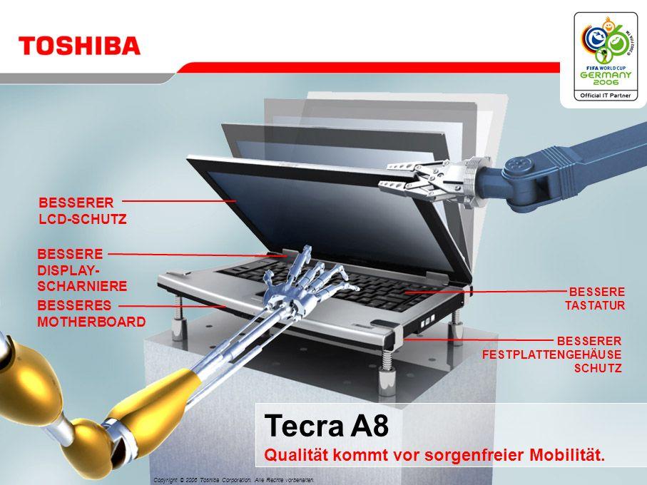 Juni 200611/Tecra A8 Entscheidungsmerkmale für das Tecra A8 Qualität kommt vor sorgenfreier Mobilität 3 Optimale Nutzung Ihrer Investition HALT Speziell entwickelt für die Herausforderungen des täglichen Geschäftslebens Beeindruckende Performance für den professionellen Einsatz 2 4 5 Einfache Konnektivität für jede Umgebung 1 Herausragende Produktqualität durch verbesserte Toshiba EasyGuard-Funktionen