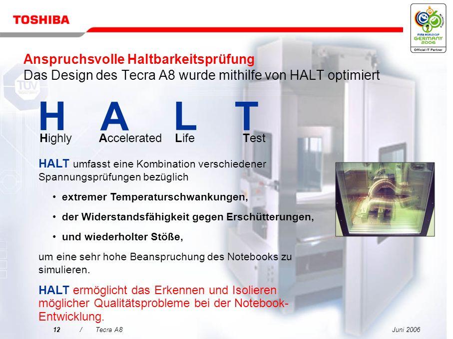 Juni 200611/Tecra A8 Entscheidungsmerkmale für das Tecra A8 Qualität kommt vor sorgenfreier Mobilität 3 Optimale Nutzung Ihrer Investition HALT Spezie