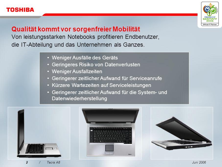 Juni 20062/Tecra A8 Qualität kommt vor sorgenfreier Mobilität Von leistungsstarken Notebooks profitieren Endbenutzer, die IT-Abteilung und das Unternehmen als Ganzes.