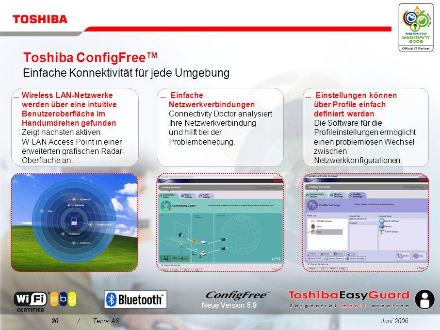 Juni 200619/Tecra A8 Entscheidungsmerkmale für das Tecra A8 1 2 3 4 Qualität kommt vor sorgenfreier Mobilität Speziell entwickelt für die Herausforder