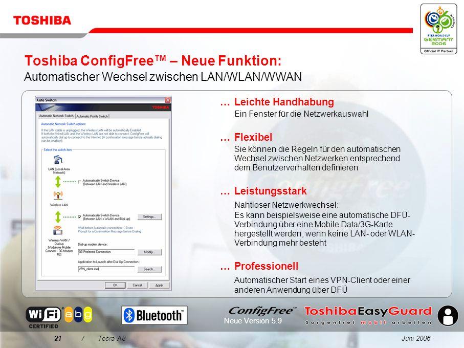 Juni 200620/Tecra A8 Toshiba ConfigFree Einfache Konnektivität für jede Umgebung... Wireless LAN-Netzwerke werden über eine intuitive Benutzeroberfläc