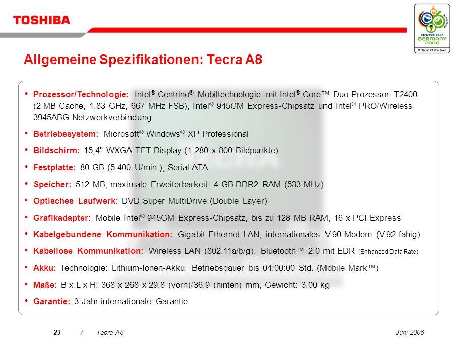 Juni 200622/Tecra A8 Toshiba Summit Effiziente kabellose Konferenzfunktionen – einschließlich gemeinsamer Dateinutzung und Chatfunktion zur Steigerung