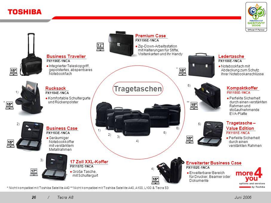 Juni 200625/Tecra A8 Mini T-Cam PX1247E-1NWC USB-Webcam mit flexiblem Fuß, Standbild-/Video- Auflösung: 640 x 480 Pixel, 24-Bit-Farbe USB-Tastatur PX1