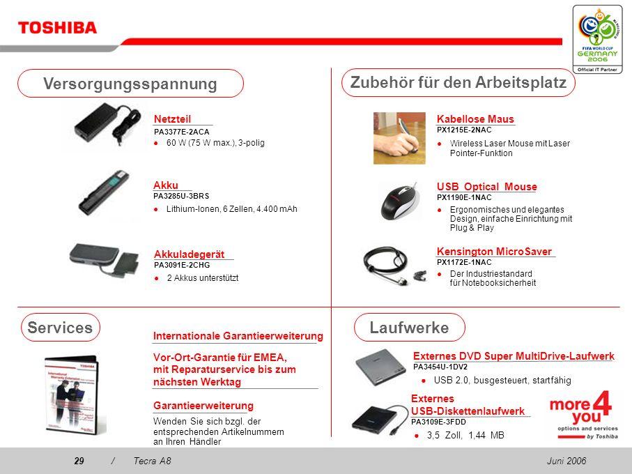 Juni 200628/Tecra A8 Kommunikation Wireless Stereo-Headset PX1224E-2EPH 2 in 1! Stereo-Headset und VoIP-fähig, bis zu 8 Stunden Akkulebensdauer (enthä