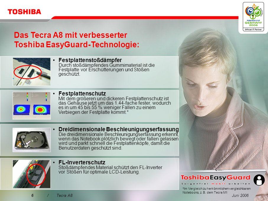 Juni 20065/Tecra A8 Der bessere Weg hin zu erhöhter Datensicherheit, erweitertem Systemschutz und einfacherer Konnektivität: Toshiba Assist-Taste für