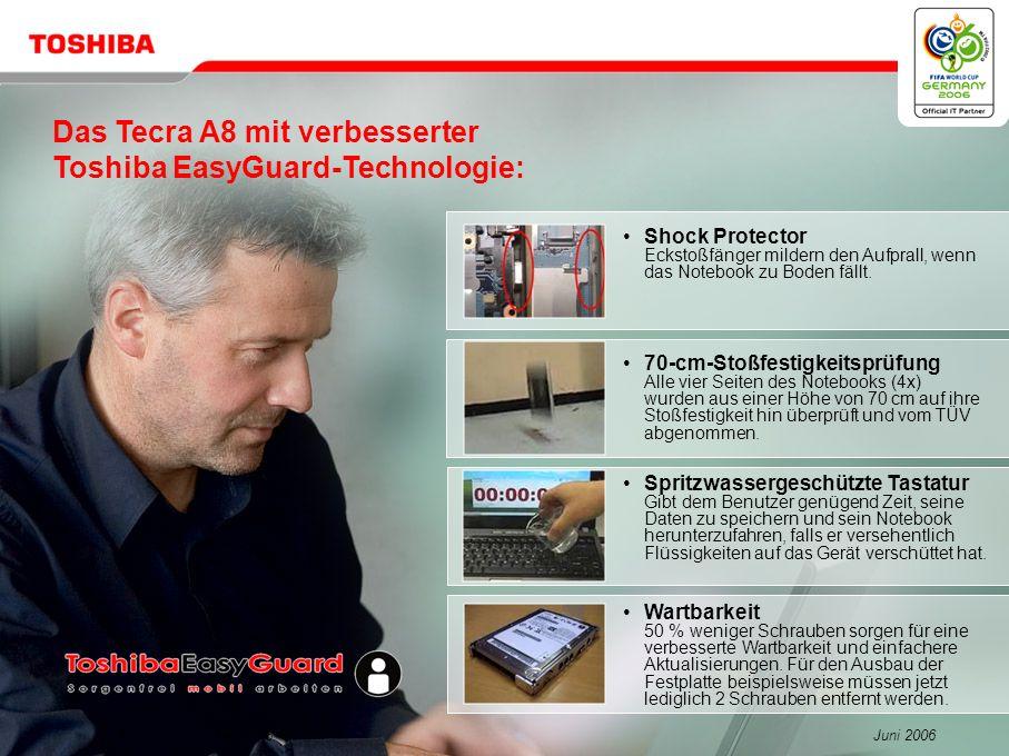 Juni 200617/Tecra A8 Widescreen-Erlebnis Höhere Produktivität, mehr Präzision, mehr Spaß Großes 15,4 WXGA Widescreen-Display – 1.280 x 800 Auflösung Breitere Tabellen (25 % mehr Spalten) Zwei Seiten nebeneinander Ideal für CAD-Anwendungen Ideal für Bildbearbeitungs-Software Ideal für Video Authoring Sehen Sie DVDs im nativen Widescreen-Format.