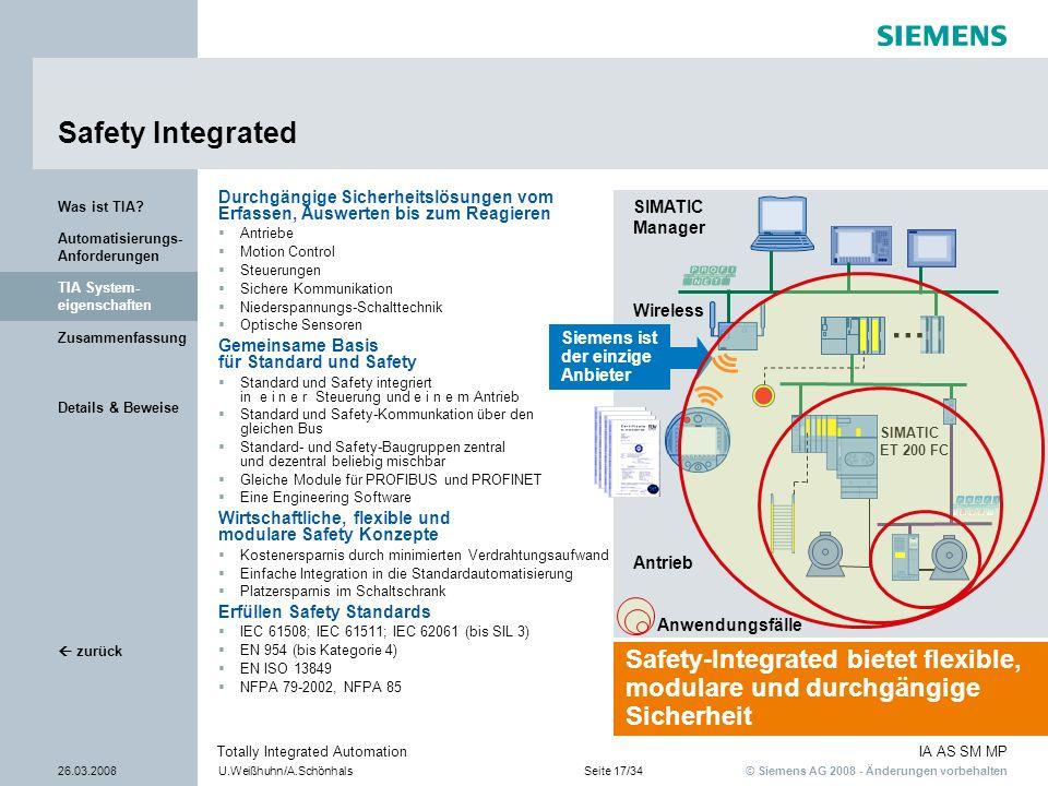 © Siemens AG 2008 - Änderungen vorbehalten IA AS SM MP 26.03.2008U.Weißhuhn/A.SchönhalsSeite 17/34 Totally Integrated Automation Details & Beweise Zus