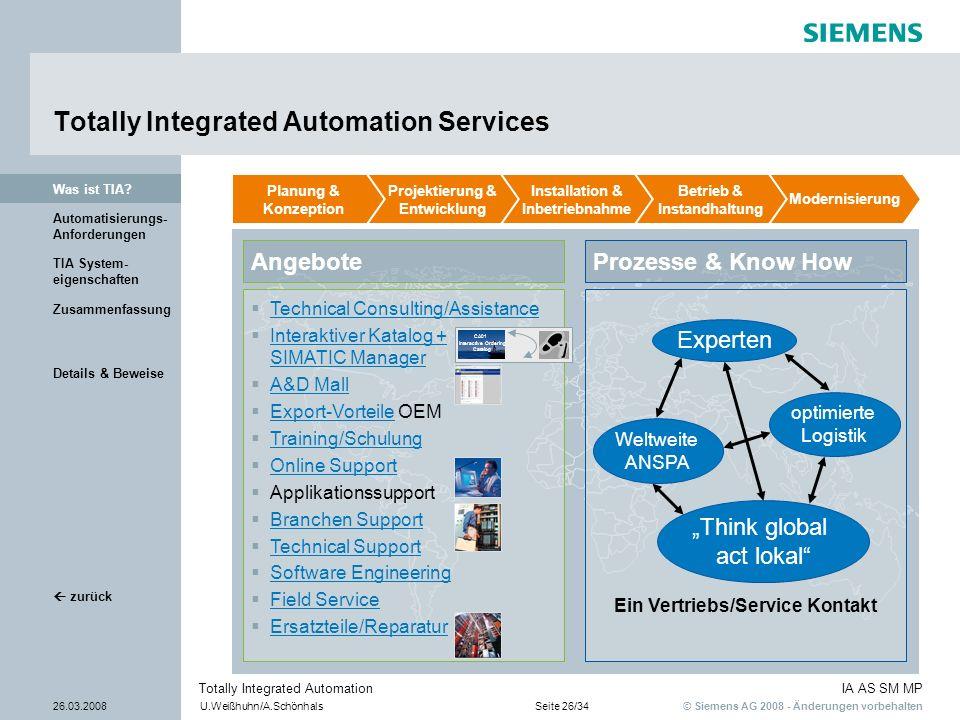 © Siemens AG 2008 - Änderungen vorbehalten IA AS SM MP 26.03.2008U.Weißhuhn/A.SchönhalsSeite 26/34 Totally Integrated Automation Details & Beweise TIA