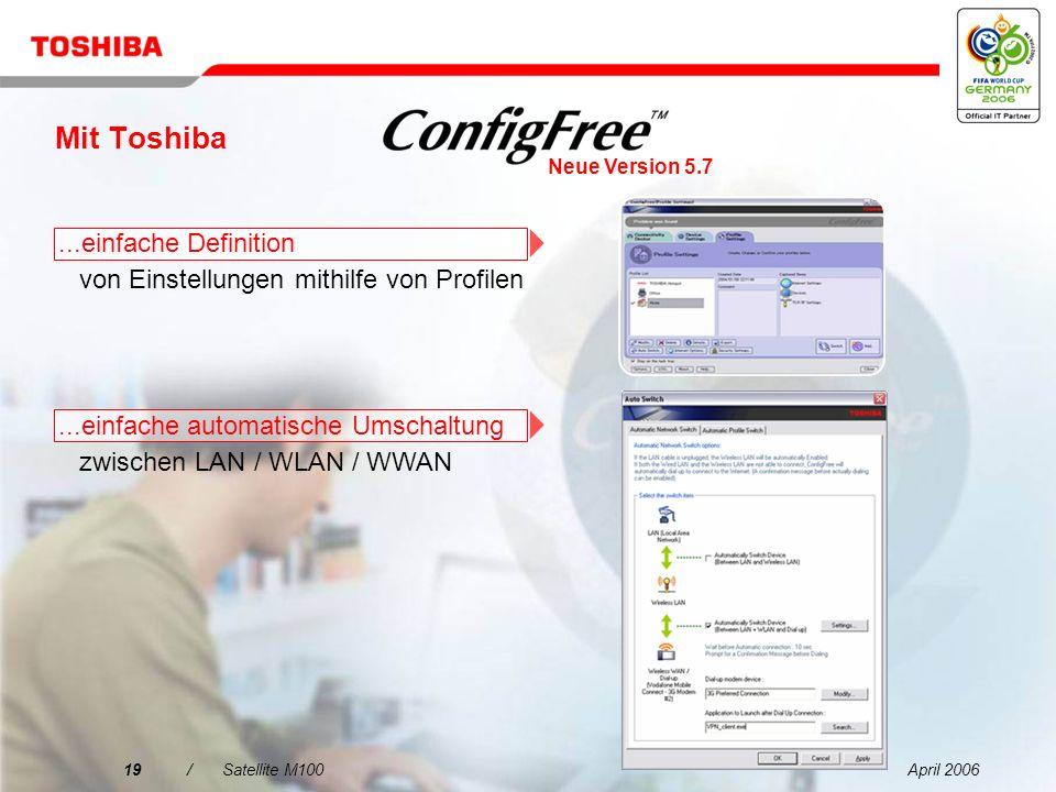 April 200618/Satellite M100 Mit Toshiba...einfache Suche nach Wireless LAN-Netzwerken mit intuitiver Oberfläche...einfache Verbindungen zu kabellosen