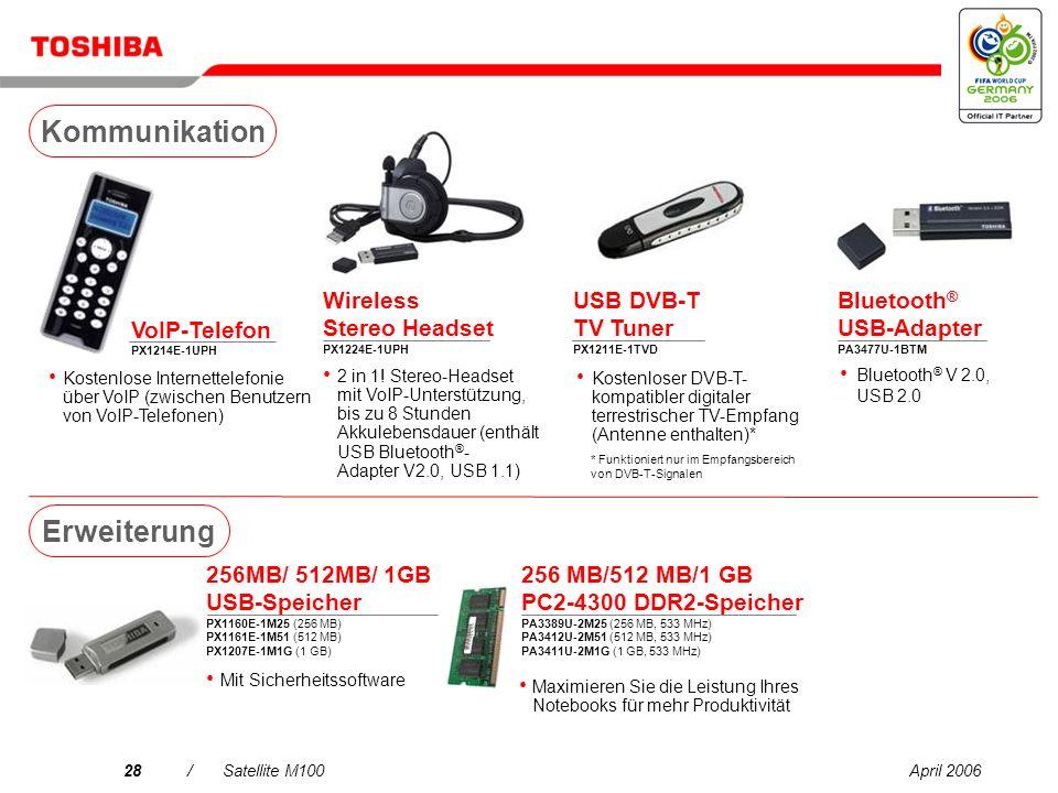 April 200627/Satellite M100 80 GB Mini- Festplattenlaufwerk PX1217E-1G08 Externes USB-Diskettenlaufwerk PA3109E-3FDD 160/250/320 GB Festplatte PX1219E