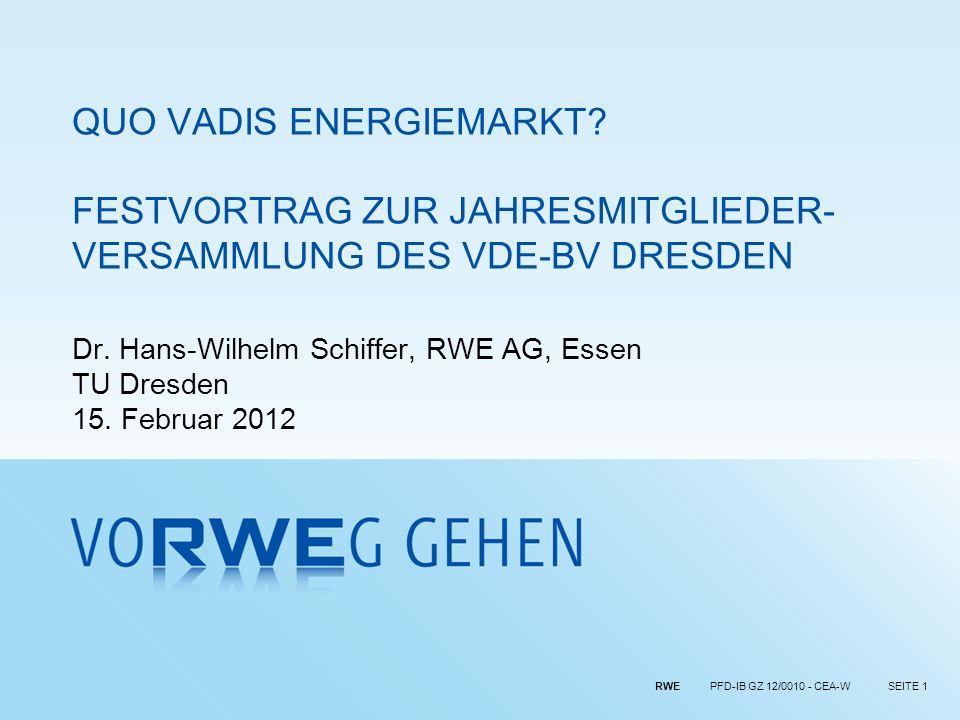 RWE PFD-IB GZ 12/0010 - CEA-WSEITE 32 Strom als wichtiger Hebel zur CO 2 -Minderung Beispiel Elektromobilität Szenario: 90% E-Mobilität 1) Benzinauto heute Elektroauto 2030+Elektroauto 2030+Elektroauto 2030+Elektroauto 2030+ Elektroauto 2010Elektroauto 2010Elektroauto 2010Elektroauto 2010 Benzinauto 2030+ Vollkosten in /km (Golfklasse) CO 2 -Emissionen in g/km (well-to-wheel) Kosten und Emissionen 2030+ (pro km) -33%-16%-71% E-Mobilität (zukünftiger Strommix)E-Mobilität (zukünftiger Strommix)E-Mobilität (zukünftiger Strommix)E-Mobilität (heutiger Strommix)E-Mobilität (heutiger Strommix)E-Mobilität (heutiger Strommix)Effiziente Verbrennungs-motorenEffiziente Verbrennungs-motorenEffiziente Verbrennungs-motorenEmissionen 2006 Annahme: Zukünftiger Strommix mit Emissionsfaktor von 0,16 t CO 2 pro MWh el 1) 45% reine E-Autos und 45% Plug-in-Hybrids (80% der Fahrtstrecke mit Strom) Quelle: RWE, Fraunhofer, RWTH Aachen, Umweltbundesamt, Booz&Company Analyse 312 2006Effiziente Verbrennungsmotoren 262 46 E-Mobilität -16%-85% Erdölverbrauch des Pkw-Verkehrs in Mio.