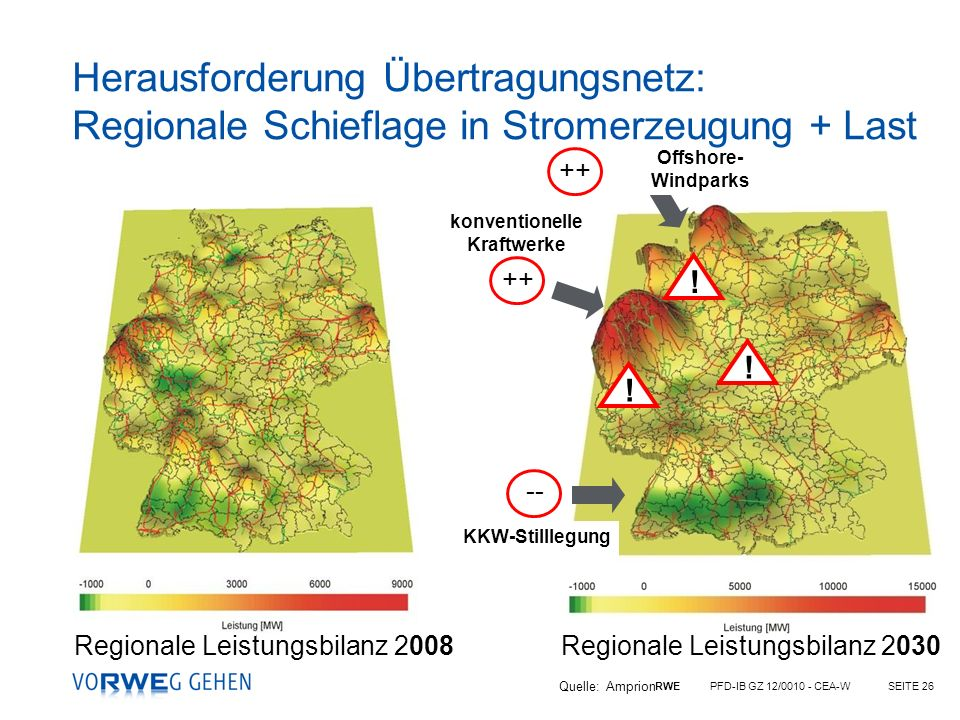 RWE PFD-IB GZ 12/0010 - CEA-WSEITE 26 -- ++ Offshore- Windparks konventionelle Kraftwerke KKW-Stilllegung !!! Regionale Leistungsbilanz 2008 Regionale