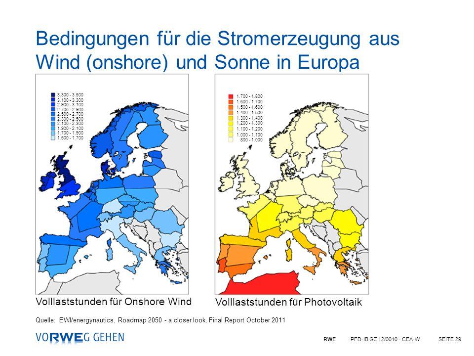 RWE PFD-IB GZ 12/0010 - CEA-WSEITE 29 Bedingungen für die Stromerzeugung aus Wind (onshore) und Sonne in Europa Quelle:EWI/energynautics, Roadmap 2050