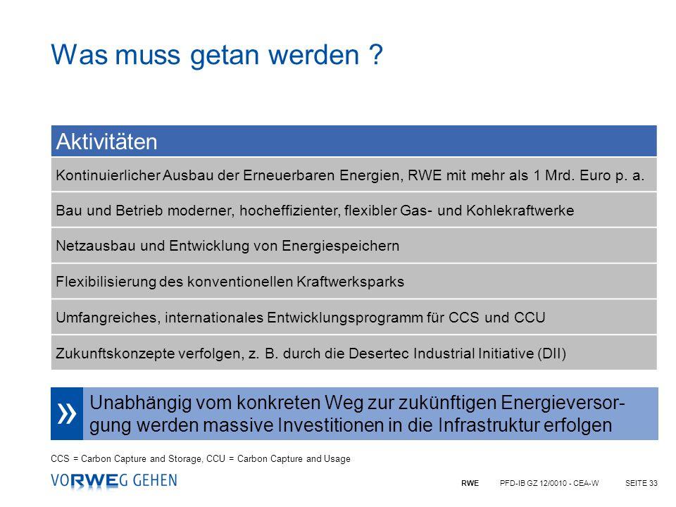 RWE PFD-IB GZ 12/0010 - CEA-WSEITE 33 Aktivitäten Kontinuierlicher Ausbau der Erneuerbaren Energien, RWE mit mehr als 1 Mrd. Euro p. a. Bau und Betrie