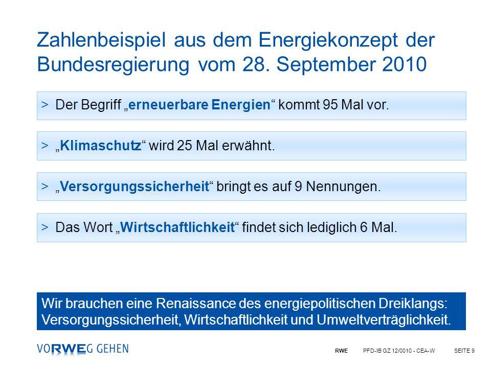 RWE PFD-IB GZ 12/0010 - CEA-WSEITE 9 Zahlenbeispiel aus dem Energiekonzept der Bundesregierung vom 28. September 2010 >Der Begriff erneuerbare Energie