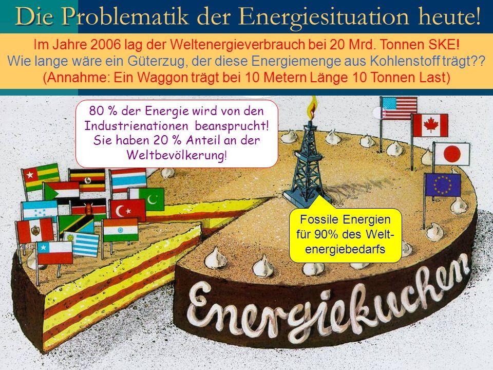 Die Problematik der Energiesituation heute! 80 % der Energie wird von den Industrienationen beansprucht! Sie haben 20 % Anteil an der Weltbevölkerung