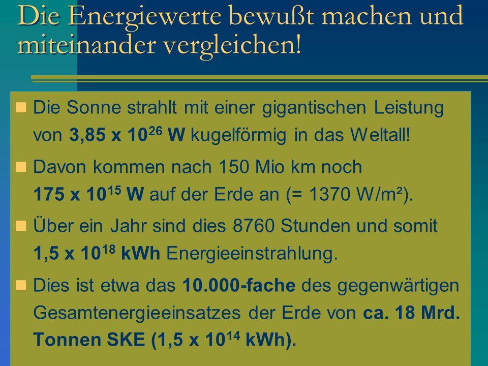 Die Energiewerte bewußt machen und miteinander vergleichen! Die Sonne strahlt mit einer gigantischen Leistung von 3,85 x 10 26 W kugelförmig in das We