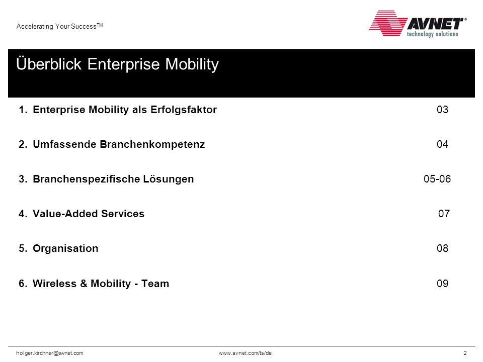 www.avnet.com/ts/de Accelerating Your Success TM holger.kirchner@avnet.com3 Enterprise Mobility als Erfolgsfaktor Mobilität ist zu einem wichtigen Bestandteil der IT- und Kommunikationsstruktur in Unternehmen aller Größen geworden.