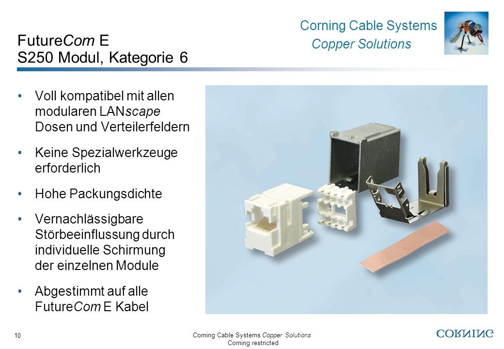 Corning Cable Systems Copper Solutions Corning restricted Corning Cable Systems Copper Solutions 10 FutureCom E S250 Modul, Kategorie 6 Voll kompatibe
