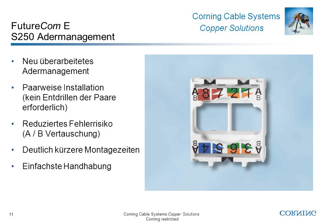 Corning Cable Systems Copper Solutions Corning restricted Corning Cable Systems Copper Solutions 11 FutureCom E S250 Adermanagement Neu überarbeitetes