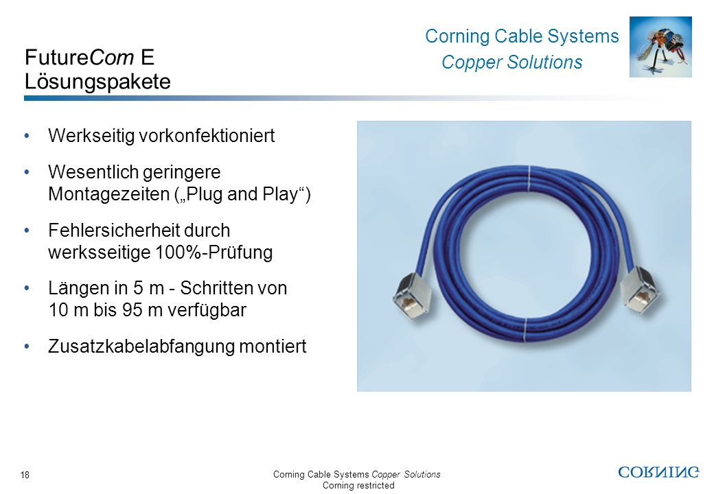 Corning Cable Systems Copper Solutions Corning restricted Corning Cable Systems Copper Solutions 18 FutureCom E Lösungspakete Werkseitig vorkonfektion