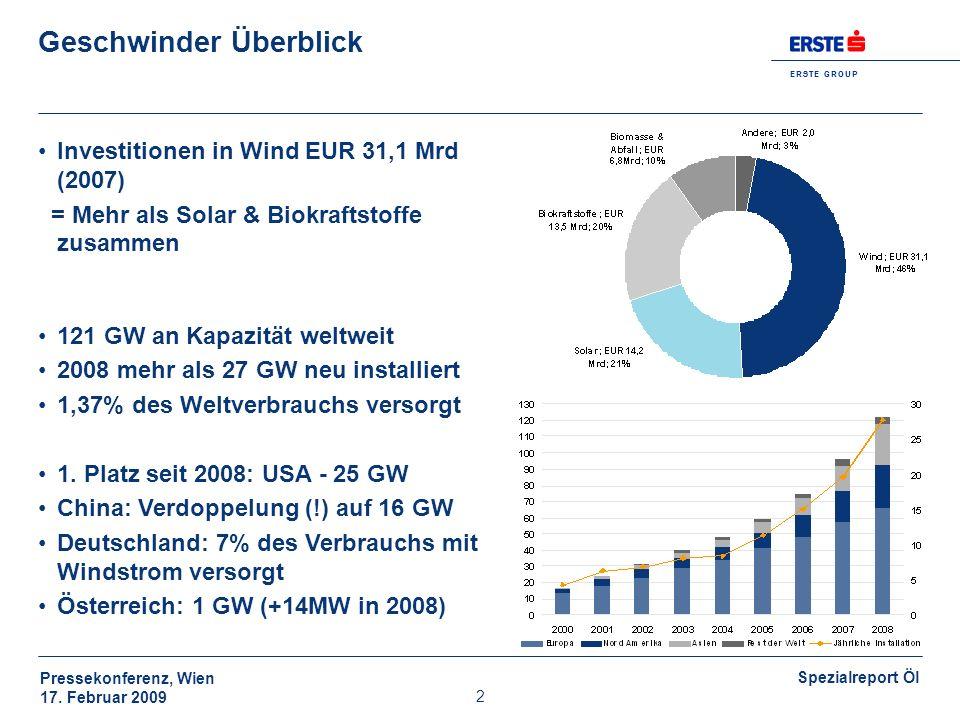 E R S T E G R O U P Pressekonferenz, Wien 17. Februar 2009 Spezialreport Öl 2 Geschwinder Überblick Investitionen in Wind EUR 31,1 Mrd (2007) = Mehr a