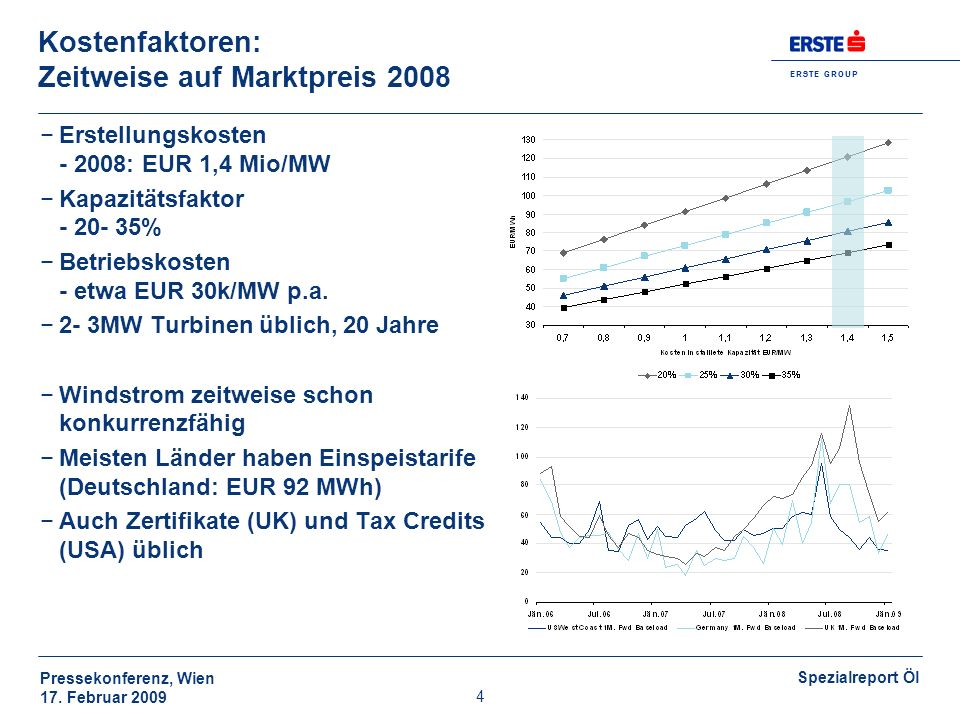 E R S T E G R O U P Pressekonferenz, Wien 17. Februar 2009 Spezialreport Öl 4 Kostenfaktoren: Zeitweise auf Marktpreis 2008 Erstellungskosten - 2008: