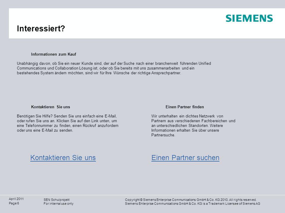 Copyright © Siemens Enterprise Communications GmbH & Co.